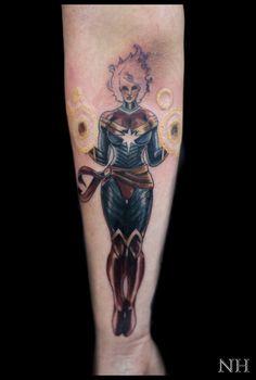Good start on Captain MarvelNicholas Hart @ Deep Roots Tattoo in Seattle, WAhttp://nickharttattoo.tumblr.com/