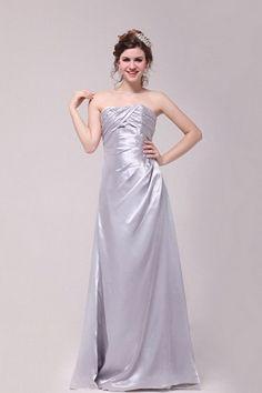 Classic Silver Satin Graduation Dress - Order Link: http://www.theweddingdresses.com/classic-silver-satin-graduation-dress-twdn2430.html - Embellishments: Draped; Length: Floor Length; Fabric: Satin; Waist: Natural - Price: 159.53USD
