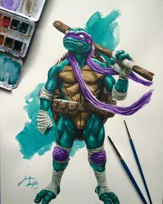 Donatello watercolors by Jonathan Knight (JD Knight) Teenage Ninja Turtles, Ninja Turtles Art, Comic Books Art, Comic Art, Cartoon Movie Characters, Medvedeva, Knight Art, Anime Comics, Marvel Comics