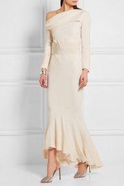 Off-the-shoulder asymmetric crepe gown