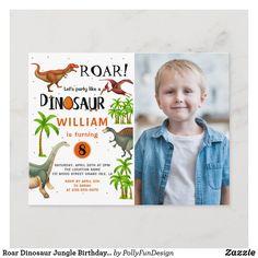 Roar Dinosaur Jungle Birthday Photo Invitation Postcard Dinosaur Invitations, Photo Birthday Invitations, Birthday Photos, Birthday Gifts, Grand Isle, Dinosaur Birthday, Postcard Size, Paper Texture, Age