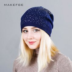 Warm Female Winter Beanie Hats Wool Knitted Caps Women Flashing Rhinestone Bonnet For Girl Skullies Hat Touca Feminina Inverno. Yesterday's price: US $17.25 (14.05 EUR). Today's price: US $7.25 (5.94 EUR). Discount: 58%.