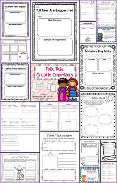 Set of 28 graphic organizers and 6 posters to review folk tales. They can be used with any book or story. There are graphic organizers to review fairy tales, tall tales, fables, pourquoi tales and trickster tales. They review the elements of each of these folk tales, characters and comparison of folk tales. The preview shows every page as well as the posters. Library Lesson Plans, Library Lessons, Teaching Reading, Teaching Ideas, Learning, Tall Tales Activities, Trickster Tales, Teach English To Kids, Traditional Literature