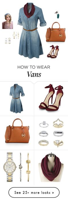 """Untitled #243"" by sophiamsceo on Polyvore featuring LE3NO, Vans, MICHAEL Michael Kors, Topshop, FRR and FOSSIL"