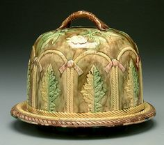 Majolica covered cheese dish,