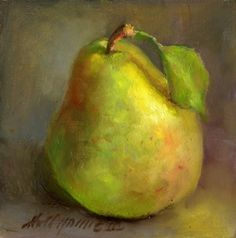 Bartlett Pear, Classical Fruit Painting 6 x6 Original Oil panel HALL GROAT II, painting by artist Hall Groat II