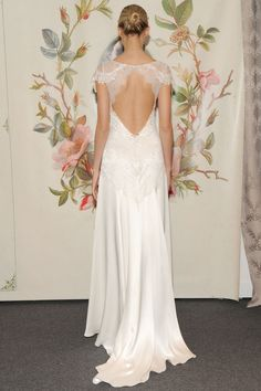 Claire Pettibone - Bridal Spring 2014  TAGS:Embroidered, Floor-length, Pattern, Short sleeves, Train, White, Claire Pettibone, Lace, Silk, Classic, Romantic