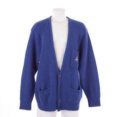Originelle Strickjacke von Hugo Boss in Blau Gr. 52 - College Stil!