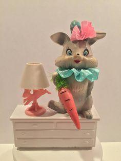 Vintage Easter Bunny Decoration Bisque Pink Gray Rabbit Japan 40s 50s Cartoon Figurine Hippity Hoppity Retro Kitsch OOAK