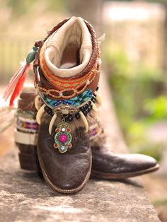 Tribal Boho beaded upcycled cowboy boots from TheLookFactory on Etsy