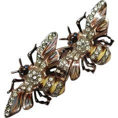 US $225  Coro Craft Sterling Enamel Rhinestone Queen Bees Duette 1940's