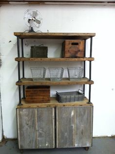 Holy kitchen on chimney wall.     Custom Modern Rustic reclaimed wood bookcase and credenza with 6 shelves. $1,799.00, via Etsy.