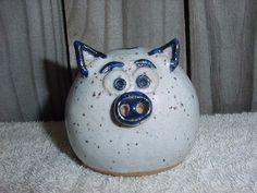 ART POTTERY PIG STONEWARE PIGGY Savings BANK w/FRACKLES