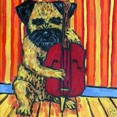 border terrier PLAYING stand up bass picture dog art tile coaster gift schmetz