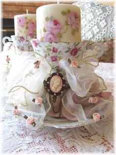 Vintage Shabby Chic Lot de 2 décoré verre bouteilles de lait Rose Dentelle Rose Dot Bow