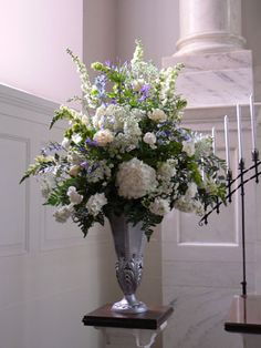 Elegant white and blue floral arrangement for Church setting.Ceremonies – Wedding Flowers Lake Jackson Texas -link to more beautiful arrangements Wedding Ceremony Ideas, Church Wedding Flowers, Altar Flowers, Church Flower Arrangements, White Wedding Flowers, Wedding Flower Arrangements, Floral Wedding, Wedding White, Trendy Wedding