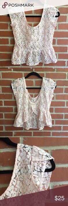 "Urban Outfitters Pins and Needles Lace Peplum Top Urban Outfitters Pins and Needles Lace Peplum Blouse. A pale pink/blush color. See through. Bust 34.5"" Entire length shoulder to bottom 19.5"" Excellent Condition! Let me know if you have any questions! ✅ I LOVE OFFERS ✅ 💜INSTAGRAM: @ocaputostyle Urban Outfitters Tops Blouses"