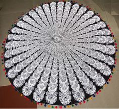 Hippie Round Beach Tapestry Mandala Indian Bohomian Throw Picnic Towel Yoga Mat@ #Handmade #ArtDecoStyle Art Deco Fashion, Beach Mat, Picnic, Mandala, Outdoor Blanket, Towel, Tapestry, Yoga, Indian