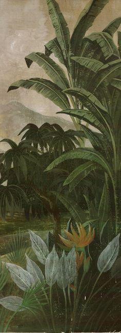 Papier peint panoramique (Lé unique) - Lé unique Tana Ananbô Plus Tropical Style, Tropical Decor, Images D'art, Wall Murals, Wall Art, Designer Wallpaper, Art Pictures, Illustration Art, Painting