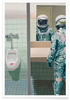 Men's Room als Premium Poster von Scott Listfield | JUNIQE