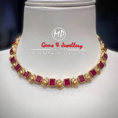 bridal jewelry for the radiant bride Ruby Necklace Designs, Jewelry Design Earrings, Gold Jewellery Design, Ruby Jewelry, Gold Ruby Necklace, Jewelry Necklaces, Handmade Jewellery, Jewelery, Gold Jewelry Simple