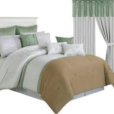 Lavish Home Elizabeth 24 Piece Comforter Set Size: King Green Comforter, Comforter Sets, Laura Ashley Home, Bedding Master Bedroom, Ruffle Bed Skirts, One Bed, Quilt Sets, Flat Sheets, Bed Spreads