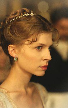 Clémence Poésy as Natasha Rostova inWar and Peace (TV Mini-Series, 2007).  Hairstyle - braided bun with tiara