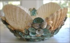 Shells n sea glass.Shell Bowl by Peggy Green Sea Crafts, Nature Crafts, Crafts To Make, Shell Decorations, Decoration Table, Seashell Art, Seashell Crafts, Seashell Display, Seashell Projects