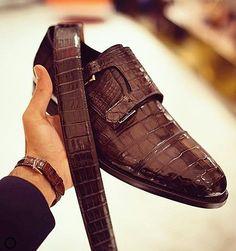 STRIKE FIRENZE men shoes Dark brown suede wingtip double monk strap