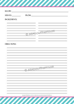 EDITABLE - Printable Stripe Recipe Template Recipe Card Recipe Organisation Recipe Binder Recipe Box Cooking Printable Recipe Album Kitchen Purchase here: https://www.etsy.com/au/listing/178071025/editable-printable-stripe-recipe?ref=shop_home_active_3
