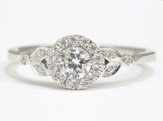 READY TO SHIP  White Gold Engagement Ring  by SillyShinyDiamonds