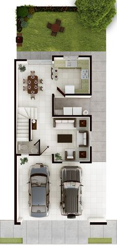 Plano de casa con terreno de 6 mts de frente x 20 de fondo for Modelos de casas de planta baja