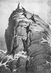 Golden age of alpinism - Wikipedia, the free encyclopedia  The First Ascent of the Matterhorn, by Gustave Doré. This ascent, by Edward Whymper and party in 1865, traditionally marks the end of the golden age of alpinism.