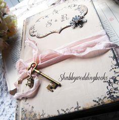 fabric flower and polka handmade wedding guest book by karenwalk rh pinterest com