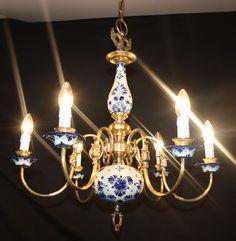 VINTAGE FLEMISH DELFT CHANDELIER  BLUE & WHITE  CERAMIC CEILING LIGHT (jn4)