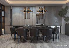 Elegant dining room design with dark color,