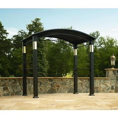 Gazebo Canopy BBQ Grill Shelter Integrated Post Speakers And Lights Outdoor Pro