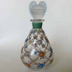 Vintage 1920's Art Deco Glass French Enamel Flower Perfume Scent Bottle
