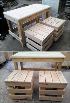 Pallet table with the stools effect is perfect to choose out for your home as it is perfect adds up in the modern flavors of your house. This design piece is featuring off the pallet table creation where the classy finishing is carried out with the stools pairing all in it.