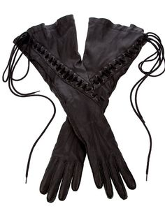 ANN DEMEULEMEESTER  LACE UP LEATHER GLOVE $1051.00