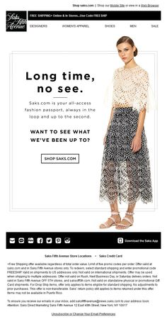 Re-engagement email design by Saks Email Marketing Design, Digital Marketing, Marketing Ideas, Sale Gif, Engagement Emails, Access Fashion, Email Web, Email Layout, Email Design Inspiration