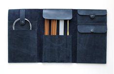 Cuir à l'aiguille étui fait main aux aiguilles organisateur d'aiguille à tricoter cas tricot aiguilles étui aiguilles circulaires de la caisse organisateur de tricot