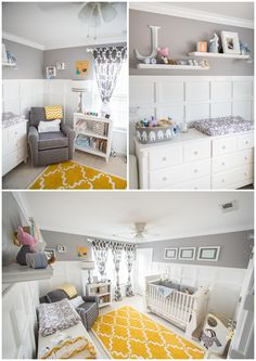 Yellow rug in gray nursery adds the perfect pop of color! #grayandyellow #nurserydesign