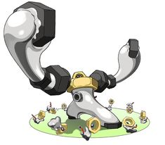 A new Pokemon Melmetal has been announced that's the evolved form of Meltan. Meltan was previously revealed to be a mystic Pokemon like Celebi and Pokemon Pokedex, Pokemon Go, Ghost Type Pokemon, Pokemon Fan Art, Pokemon Stuff, Pikachu Pikachu, Equipe Pokemon, Nintendo, Monsters
