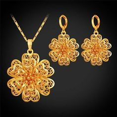 Hollow Flower Necklace Earrings Clover Charm Lucky Bride Jewelry Sets for Women Wedding