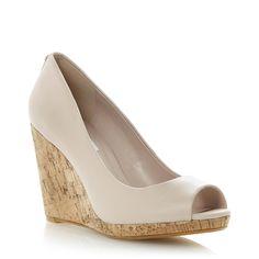 DUNE LADIES CELIA - Cork Wedge Peep Toe Pump - blush   Dune Shoes Online