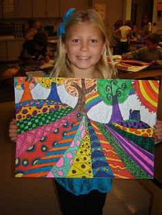 Heather Galler folk art.  These are beautiful! - 3rd grade landscape?  4th fun one perspective? Nice twist on one I do with grade 6