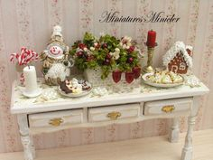 Miniature Dollhouse Christmas Sideboard Shabby Chic by Minicler