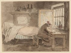 attributed to Henry Singleton  The Poet (date not known - early 19thC)  t09230  Henry Singleton 1766‑1839 The Poet date not known Pencil, watercolour and pen and ink on paper support.