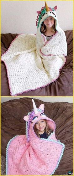 ~*no pattern, but has other hooded blanket pattern*~ Crochet Hooded Unicorn Blanket Paid Pattern- Crochet Hooded Blanket Patterns Bag Crochet, Crochet Amigurumi, Manta Crochet, Crochet Gifts, Free Crochet, Crochet Hood, Crochet Beanie, Crochet Braids, Crochet Bikini